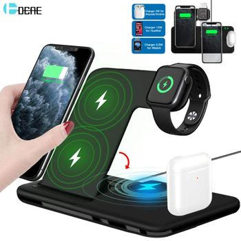 15W Qi Fast Wireless Charger Stand For iPhone 11 XR X 8 Apple Watch 4 in 1 Foldable Charging Dock Station for Airpods Pro iWatch