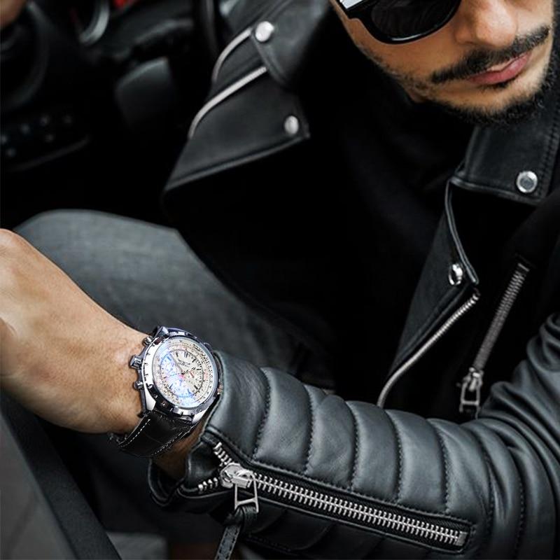 Jaragar 2020 Blue Glass Aviator Series Military True Men Sport Automatic Wrist Watch Top Brand Luxury Mechanical Male Clock Hour 5