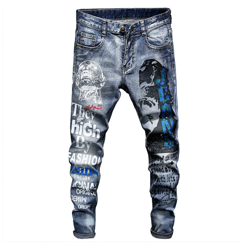 Sokotoo Men's Letters Pattern Printed  Denim Jeans Fashion Slim Fit Blue Stretch Tapered Pencil Pants