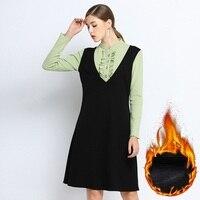 2019 fashion ladies winter fleece dress contrast color fake two elegant dress long sleeves temperament midi dress plus size 5XL