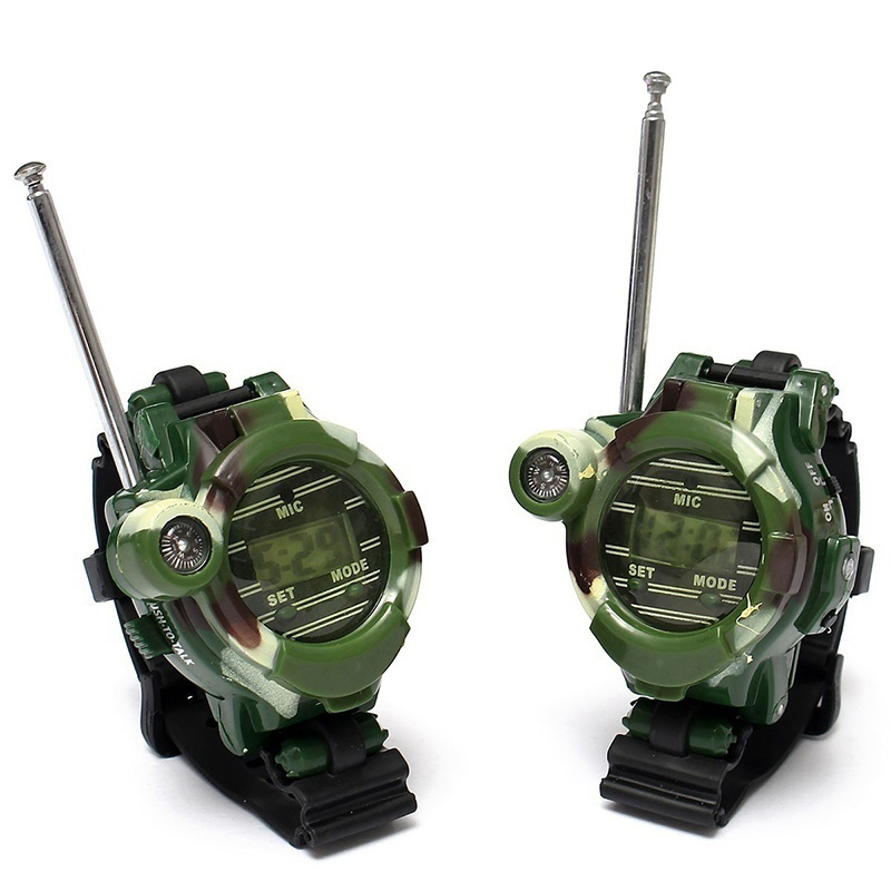 2pcs Mini Walkie Talkies Watches Toys For Kids 7 In 1 Camouflage 2 Way Radios Walky Talky Interphone Clock Children Toy