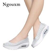 Ngouxm letnie damskie buty na platformie kobieta lady płaskie na co dzień płytkie buty Slip On Comfort Lace czarna tkanina buty