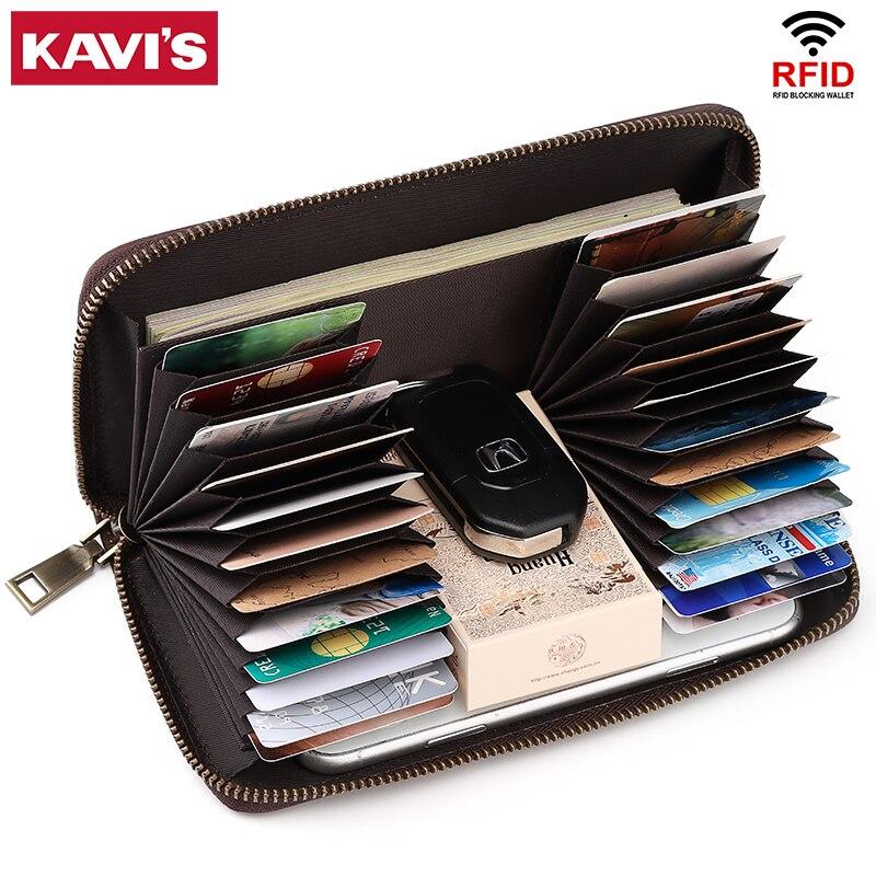 KAVIS luxe grande carte de crédit portefeuilles organisateur femmes portefeuille voyage accessoires grande capacité hommes femme pochette porte-carte