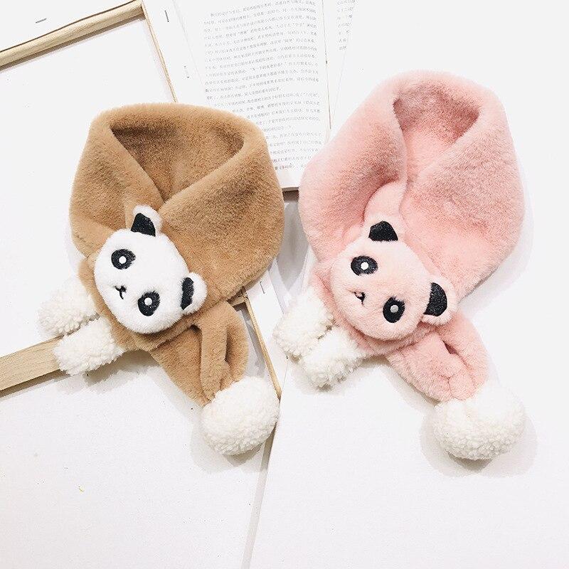 PPXX 2019 Panda Winter Baby Fur Scarf Children Scarves Faux Rabbit Fur Neck Warmers Kids Scarf Fur Ball Girls Boys Bufanda Bebe