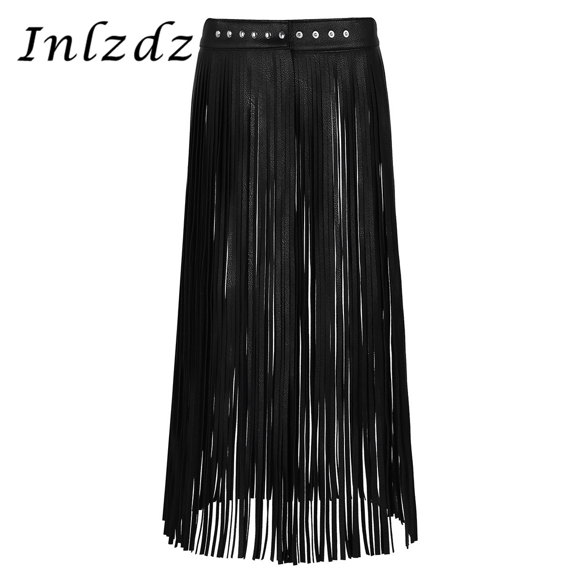 Women's Pole Dance Skirts Ladies Fashion Leather Adjustable Hippie Boho Waistband Long Fringe Tassel Skirt Belt Rave Clothes