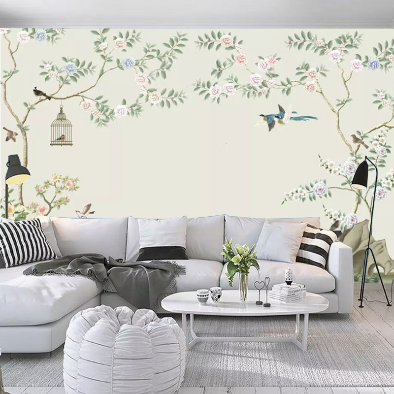 4D New Chinese Style Modern Flowers And Birds TV Backdrop Wallpaper Living Room Bedroom Simple Film And Television Wall Cloth De