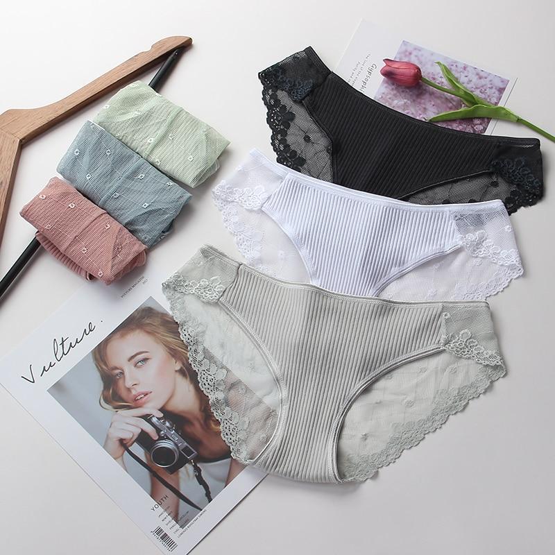 Seamless Panties Transparent Lace Briefs Underwear Women's Lingerie Female Sexy Panty Low Waist Soft Underpants Lady Intimates