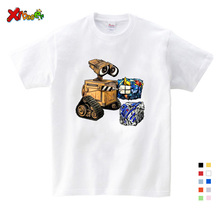 Best Sellers Wall-E Eve Robot Couple Cartoon Funny White T Shirt Gifts for Children New Breathable Kids Short Sleeve T-shirt