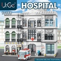 MOC City Streetview Series The Town Hospital University Post Model Kit Building Blocks Fit Creator Expert Bricks Toys DIY Gifts