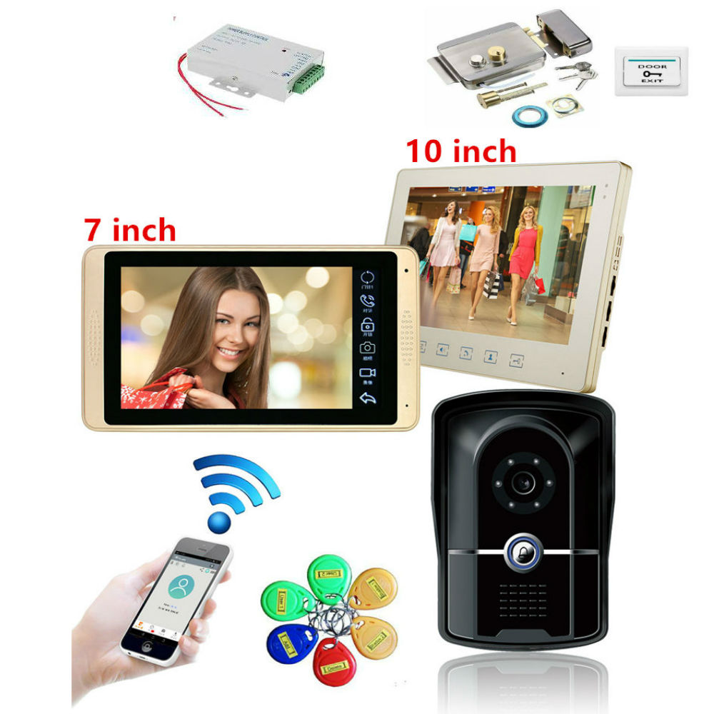 SmartYIBA 7inch Wired Video Door Phone With Lock Video Intercom For Apartment Home Electric Lock Access Control System 3A Power