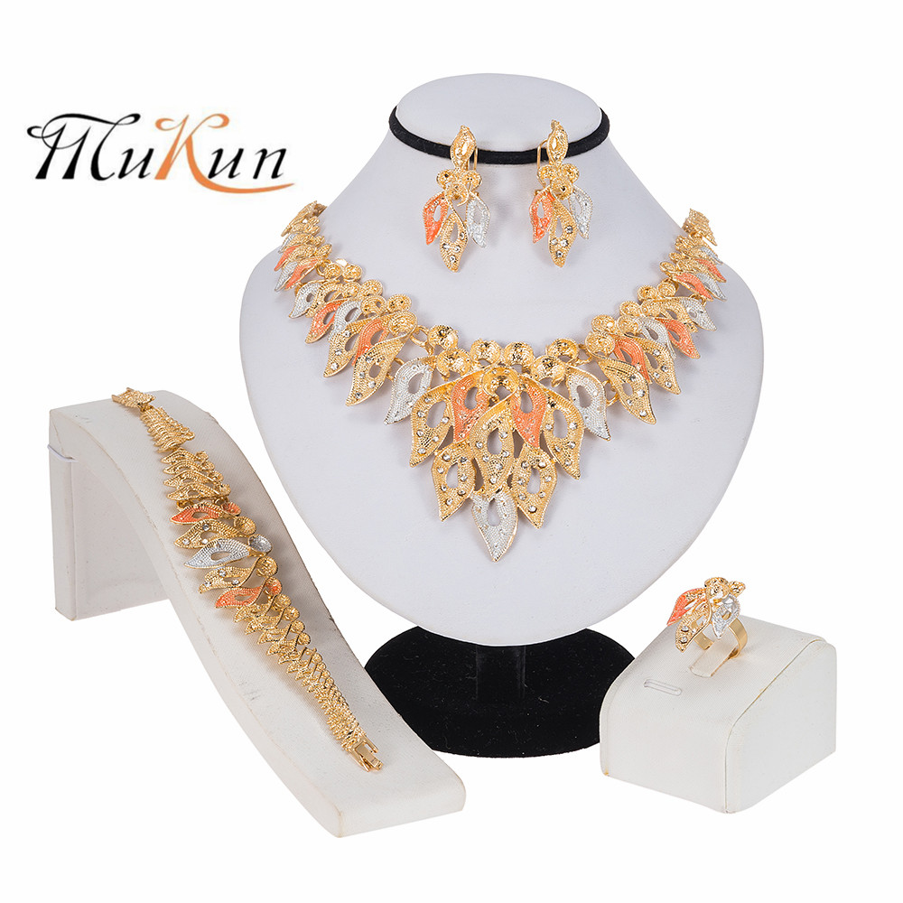 MUKUN 2020 NEW Exquisite Dubai Women's Jewelry Set Donut <font><b>Necklace</b></font> <font><b>Earrings</b></font> <font><b>Ring</b></font> <font><b>Bracelet</b></font> Trendy Nigerian Wedding Jewelry Popular image