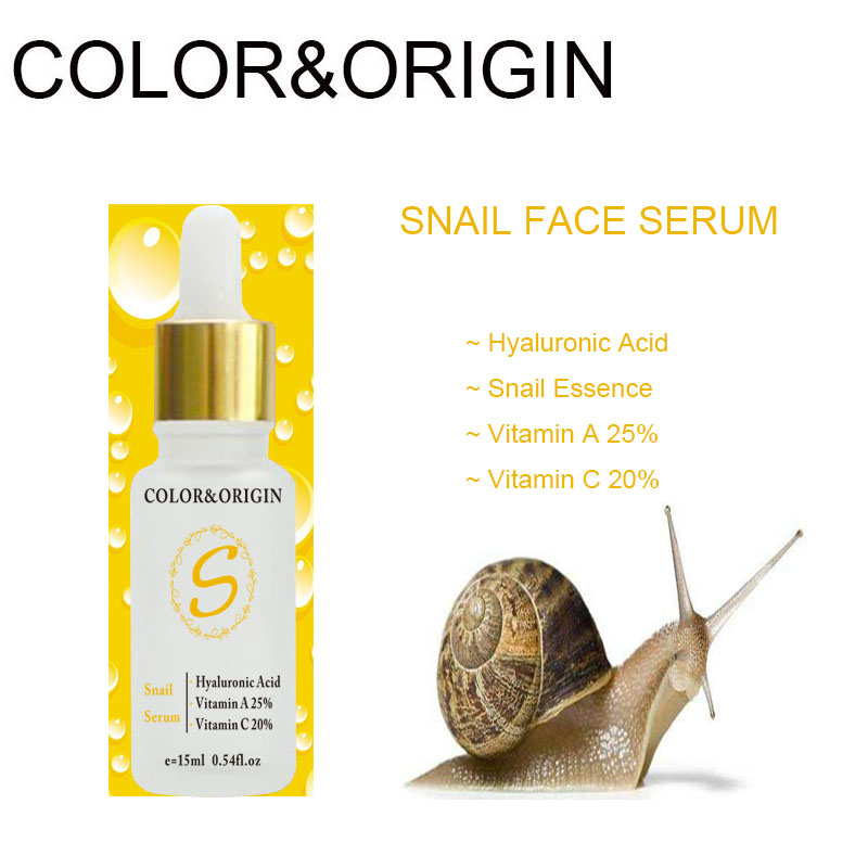 Color&Origin Hyaluronic Acid Snail Serum Deep Moisturizing Face Serum Vitamin E Professional Whitening Anti Aging Shrink Pores