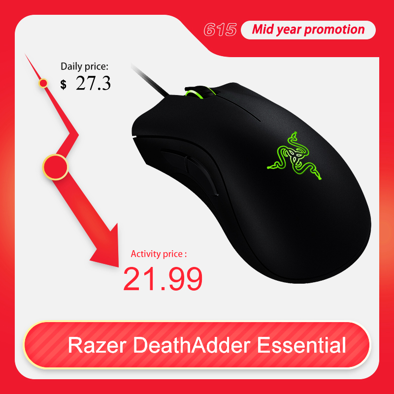 Original Razer DeathAdder Essential Wired Gaming Mouse Mice 6400DPI Optical Sensor 5 Professional Gaming Mouse for  PC ComputerMice   - AliExpress