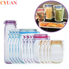 5pcs Mason Jar Bottles Bags Nuts Candy Cookies Bag Reusable Seal Fresh Food Storage Bag Snacks Ziplock Bags Kitchen Organizer