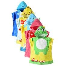 Банное полотенце для маленьких мальчиков и девочек, детский банный халат с рисунком животных, пончо с капюшоном, банное полотенце, одежда для детей, Пляжная кофта, ночное платье
