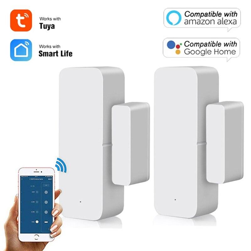Tuya WiFi датчик для двери Смарт дверь открытой/закрытый детекторы SmartLife с Wi-Fi и оконный датчик охранной сигнализации работать с Alexa Google Home