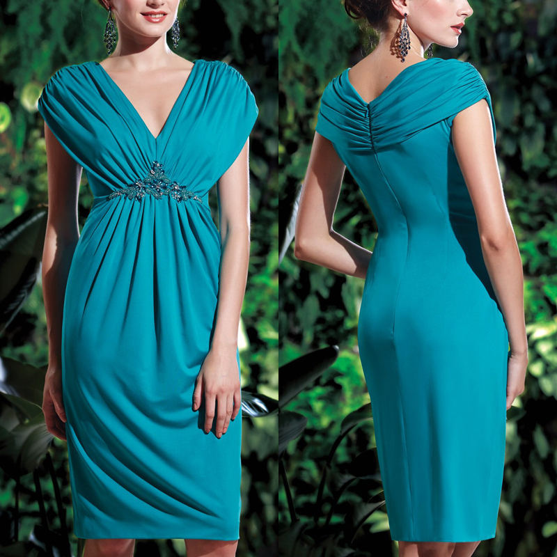 New 2015 Knee Length Short Beaded Brides Mother Dresses For Weddings Cap Sleeve Green Chiffon Short Mother Of The Bride Dresses