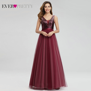 Image 4 - Элегантные вечерние платья с длинным рукавом и v образным вырезом, вечерние платья трапециевидной формы без рукавов с блестками EP07910NB, блестящие вечерние платья 2020