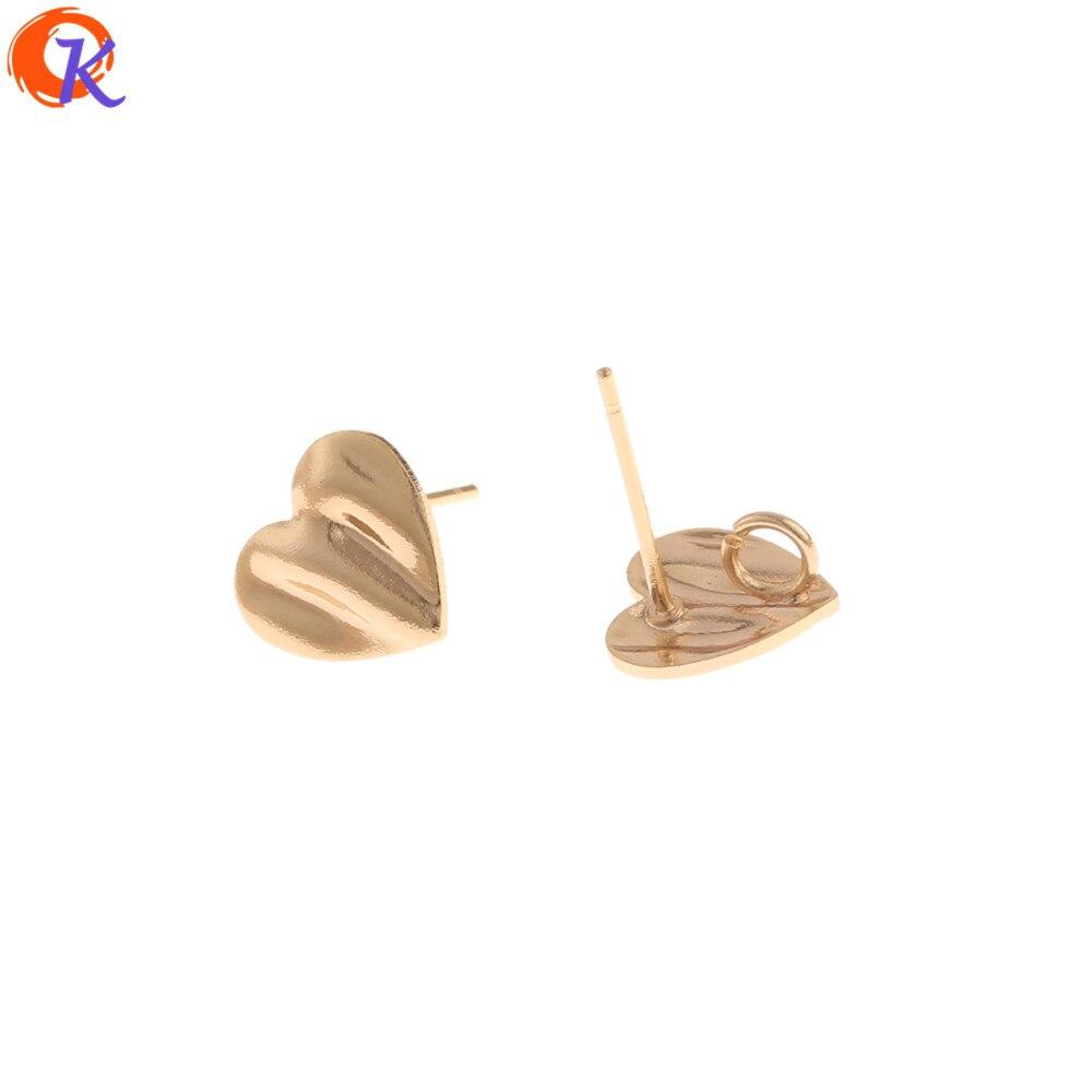 40 piezas de accesorios de joyería de 9*10MM de diseño Cordial/hechos a mano/en forma de corazón/genuino chapado en oro/pendientes de tuerca/Fabricación de joyas DIY