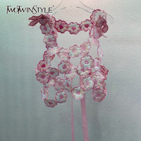 TWOTWINSTYLE-Chaleco Floral informal para mujer, chaleco con cuello cuadrado sin mangas, con cordones, moda de verano