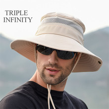 Outdoor Fishing Hiking Men's Panama Hats Summer Sun-proof Anti-UV Breathable Fisherman Sun Hat Adjustable Male Bucket Hat Bob