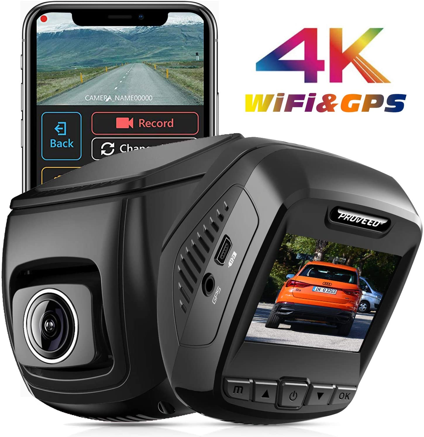 Pruveeo T7 <font><b>4K</b></font> Dash Cam Built in WiFi GPS, UHD 2160P Dash Camera for <font><b>Cars</b></font>, 2.4 inch LCD, 170 Degree, Wide Angle, Supercapacitor, image