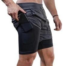 2021 Summer Running Shorts Men 2 in 1 Sports Jogging Fitness Shorts Training Quick Dry Mens Gym Men Shorts Sport gym Short Pants