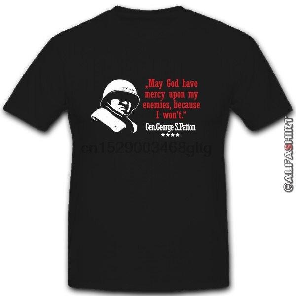 100 % Cotton T Shirt for Men Design Tops Gen George S Patton 4 Sterne General My God Mein Gott Army USA Cheap T Shirts