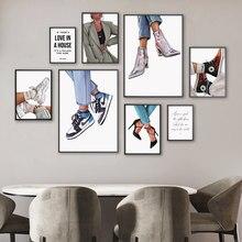 Mode fille talons hauts, citation, peinture sur toile d'art mural, affiches et imprimés nordiques, images murales pour décor de salon, boutique