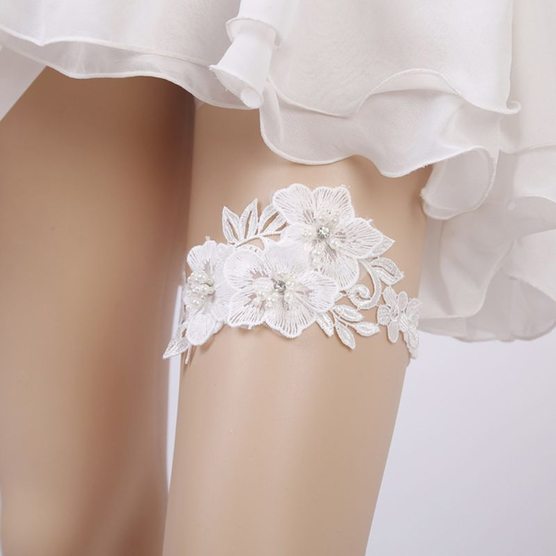 Wedding Bridal Sexy Leg Garter Embroidery Floral Lace Rhinestone Bead Thigh Ring