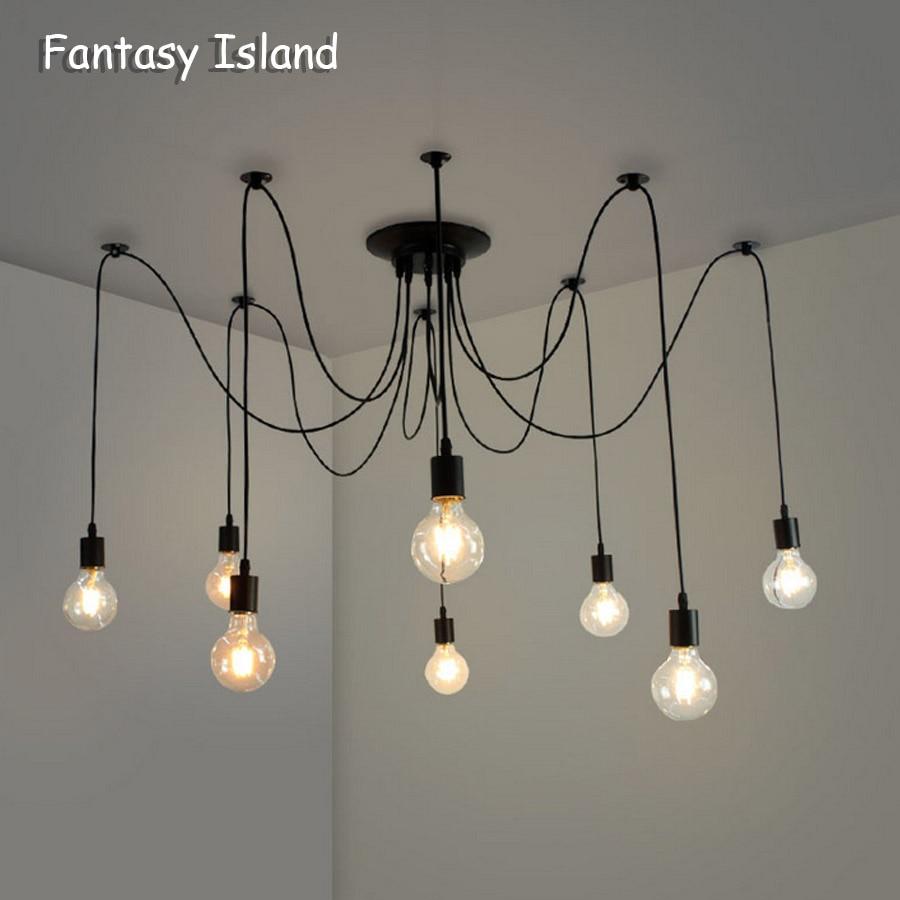 Люстра DIY Art Spider потолочный светильник подвесной светильник скандинавский Ретро Эдисон лампа винтажный Лофт антикварный подвесной светиль...