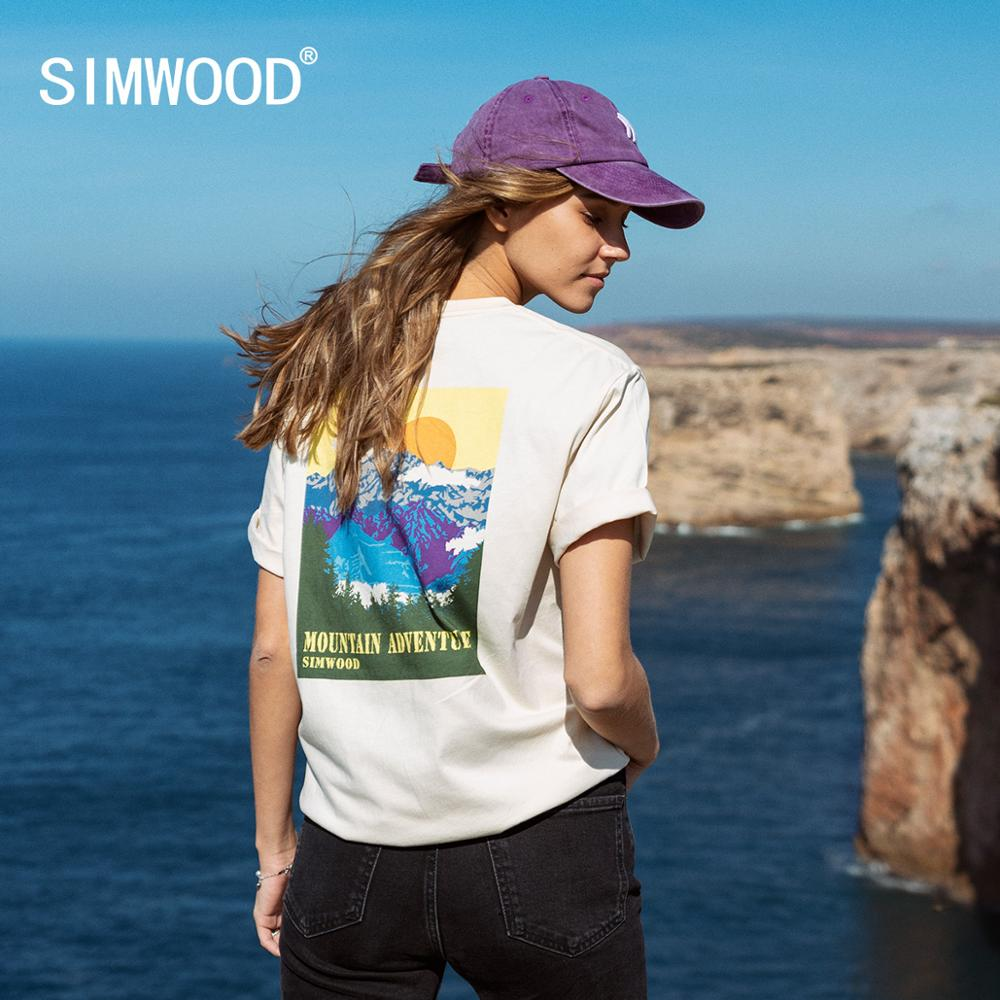 SIMWOOD 2020 Summer New Back Landscape Print T-shirt Men 100% Cotton Fashion Matching Couple T Shirts High Quality Tops SJ120109