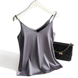Image 4 - Spaghetti Strap Top Women Halter V Neck Basic White Cami Sleeveless Satin Silk Tank Tops WomenS Summer 2020 Camisole Plus Size