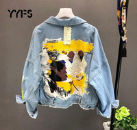 Denim Jackets Women Hand painted Pattern Street Coat Letters Print Cool Girl Jean Jacket 2019 Autumn Fashion Pockets Outwear