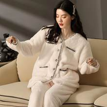 Модная Фланелевая пижама fdfklak Женская Корейская утепленная