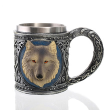 Resin and Stainless Steel 3D Wolf Mug Beer Coffee Tea Cup Halloween Bar Drinkware Gift 85x10.5cm цена 2017