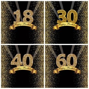 Happy Sweet 18th 25 30 40 50 55th Birthday Party Gold Dot Party Banner Photo Background Photophone Photo Backdrop Photostudio