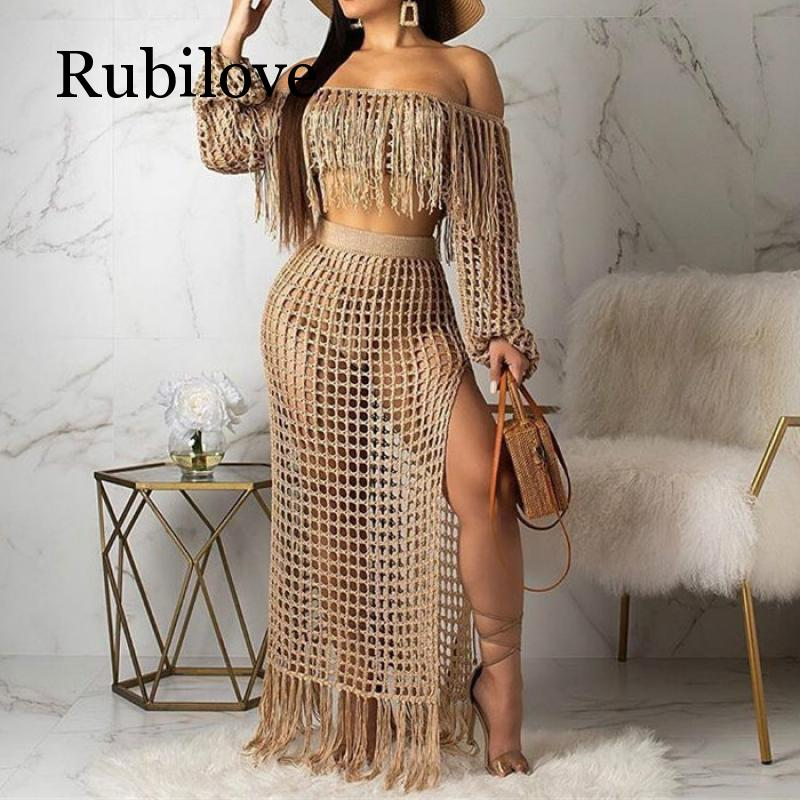 Rubilove Fringed Tassel Summer Beach Dress Women Sexy Off Shoulder Maxi Long Sleeve Boho Knit Crochet Hollow Out Party Lon