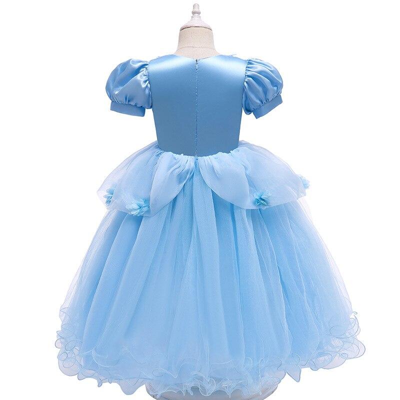 VOGUEON Luxury Cinderella Dress Girls Beading Applique Flower Princess Dresses Girl Lace Mesh Birthday Party Fancy Kids Costume 3