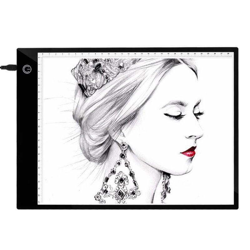 A4 LED Digital Graphic Tablet Display Panel Luminous Stencil Graphic Artist Thin Art Stencil Draw Board Light Box Tracing Tablet