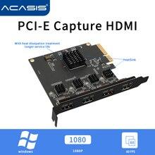 Acasis 4 канала HDMI-Совместимость PCI-E Карта видеозахвата 1080p 60fps OBS последнюю версию Wirecast в прямом эфире Потоковое вещание адаптер Quad Порты