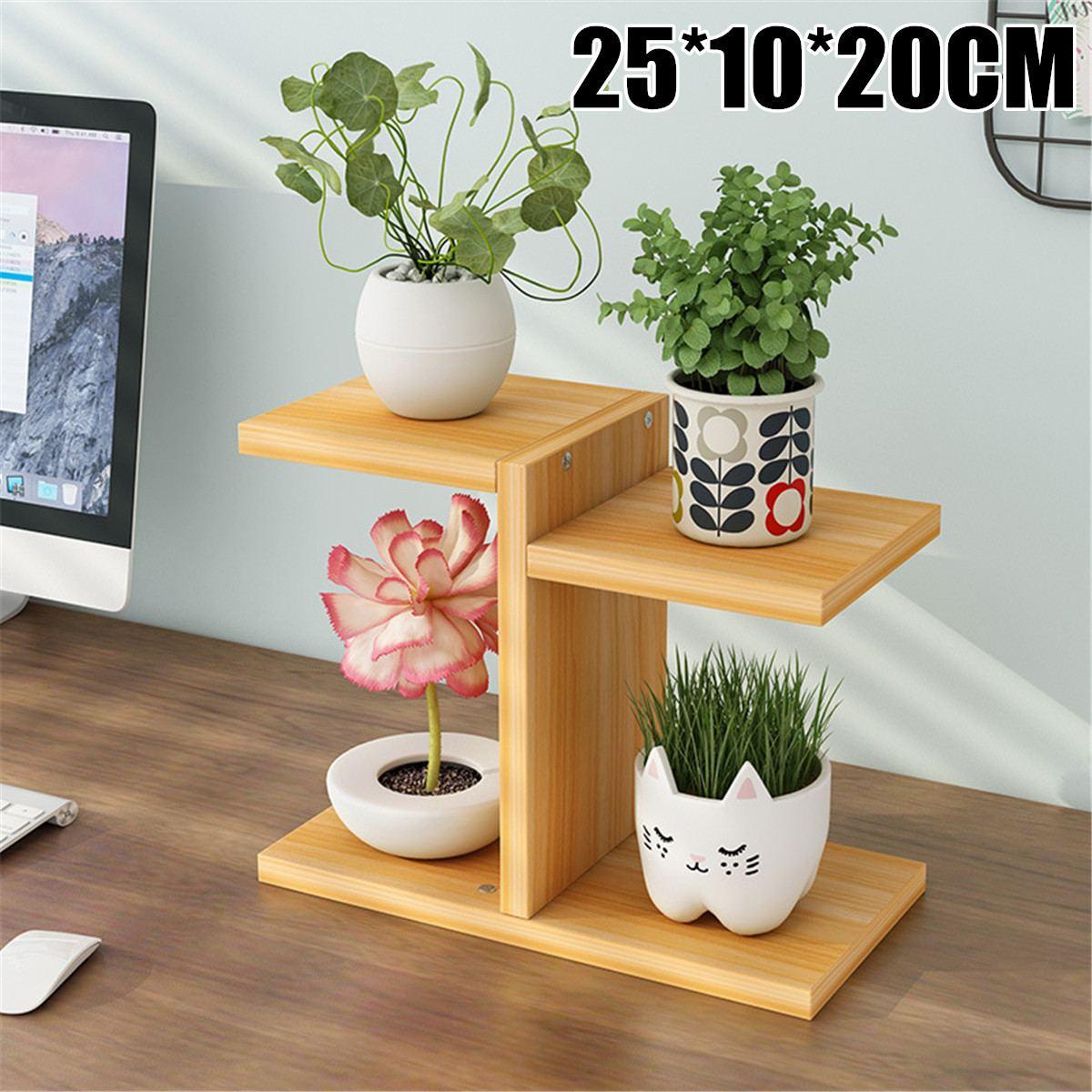 Simple Wooden Plant Shelves Desktop Flower Rack Stand Flower Display Stand Storage Shelf Organizer Home Desk Balcony Garden