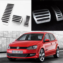 For VW Polo 2010-2016 AT 3pcs Aluminium Non Slip Foot Rest Fuel Gas Brake Pedal Cover(China)