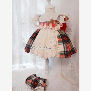 Платье принцессы в стиле испанской Лолиты, одежда для маленьких девочек, кружевное клетчатое платье с вышивкой, девичье платье для дня рожд...