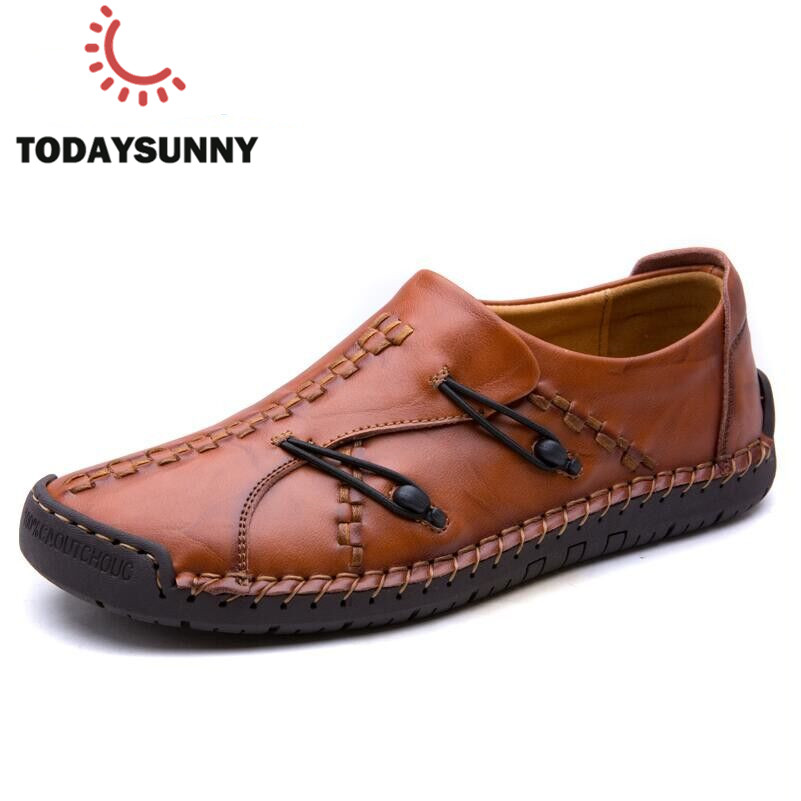 New Genuine Leather Loafers Men Moccasin Slip On Sneakers Flat High Quality Causal Men Shoes Adult Male Footwear Boat Shoes