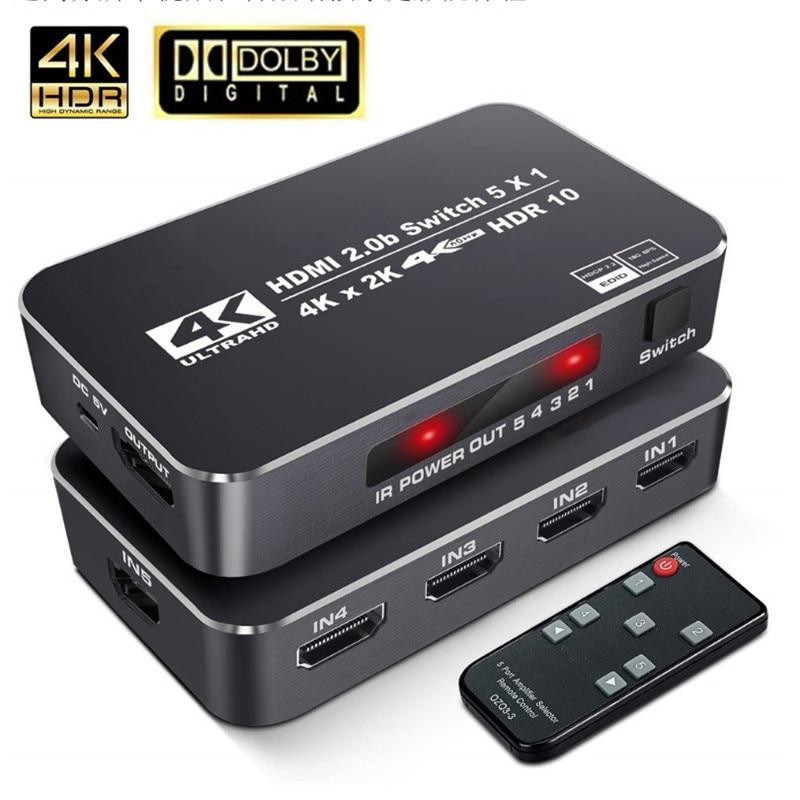 Высокая скорость 18,5 Гбит/с 5 портов 4K 60 Гц HDR HDMI 2,0 переключатель 5x1 KVM Sup порты Ultra HD Dolby Vision HDR10, HDCP 2,2 & 3D