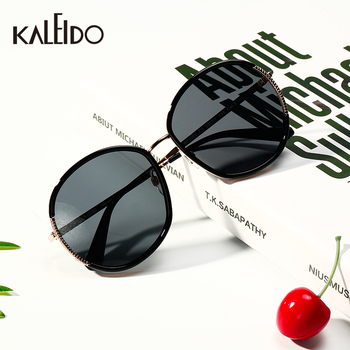 цена на KALEIDO Black Round Polarized Sun Glasses Women Luxury Brand UV400 Polycarbonate Lens TR and Alloy Frame Sunglasses for Adult