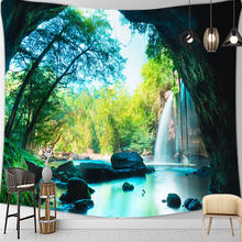 3D Landscape Scenic Green Tapestry Wall Hanging Tapestries Wall Rugs Dorm Decor Blanket