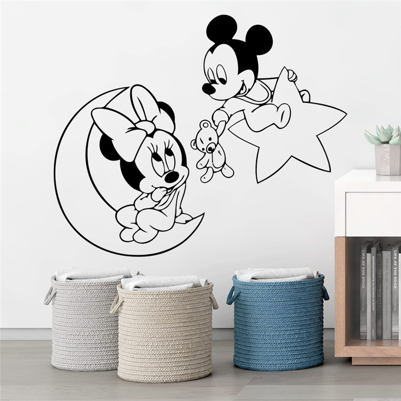 Disney Mickey Minnie Mouse Moon Star Wall Stickers Home Decor Living Room Cartoon Wall Decals Vinyl Mural Art Diy Posters Buy At The Price Of 2 11 In Aliexpress Com Imall Com