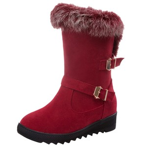 Boots Women's Boots Classics Women Middle Tube Snow Boots Fashion Flat Heels Winter Shoes Warm Boots #YB40
